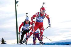 Marte Olsbu på vei mot sjuendeplass under verdenscupjaktstaretn i Östersund 2015. Foto: Manzoni/NordicFocus.