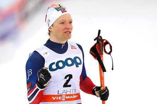 Eirik Brandsdal jubler over å ha vunnet sprinten under verdenscupen i Lahti 2015. Foto: Laiho/NordicFocus.
