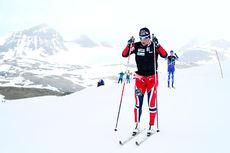 Marit Bjørgen i trening ved Sognefjellshytta en tidligere sesong. Foto: Erik Borg.