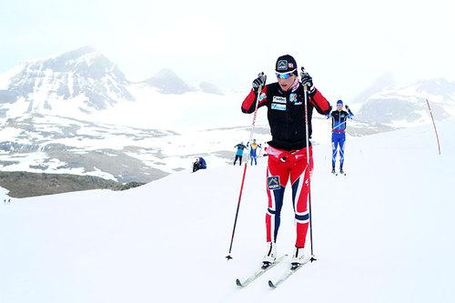 Marit Bjørgen i trening ved Sognefjellshytta. Foto: Erik Borg.
