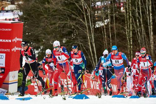 Feltet ute på 15 km klassisk fellesstart på 5. etappe i Oberstdorf under Tour de Ski 2016. Foto: Felgenhauer/NordicFocus.