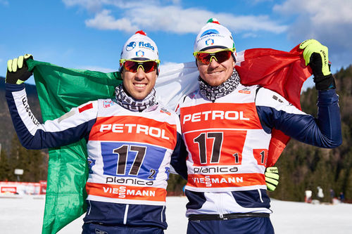 Italias lag som toppet teamsprinten under verdenscupen i Planica 2016. Til venstre Federico Pellegrino og Dietmar Nöckler. Foto: Felgenhauer/NordicFocus.
