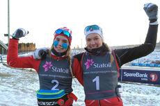 Emma Skjoldli (t.v.) og Ragnhild Rønning kapret henholdsvis 2.- og 1.-plass på 5 km klassisk for Kvinner 17 år under Norgescup for junior på Steinkjer i januar 2016. Foto: NTG Geilo.