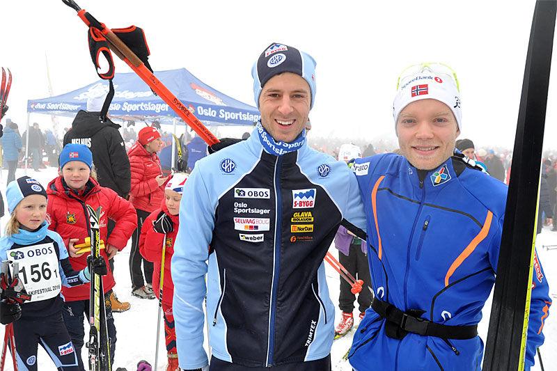 Eirik Brandsdal (t.h.) vant Oslo Skifestival forrige vinter. Magne Lund Hansen fra Høybråten og Stovner tok tredjeplassen, bare 2 sekunder bak. Foto: Kaare Martin Granerud.