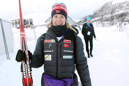 Silje Øyre Slind var strålende fornøyd med bronsemedalje på NM-sprinten i Tromsø 2016. Foto: Erik Borg.