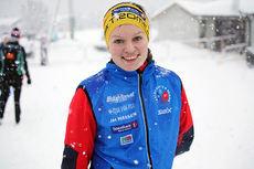 Berthe Annette Svenkerud etter NM-stafetten i Tromsø 2016, der hun sammen med Silje Theodorsen og Marit Katarina Robertsen ble nummer fire på Kvaløysletta Skilag. Foto: Erik Borg.