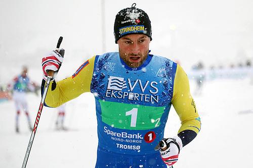 Petter Northug under NM-stafetten i Tromsø 2016. Sammen med Lars Ove Aunli og lillebror Even Northug ble det bronsemedalje for Strindheim. Foto: Erik Borg.