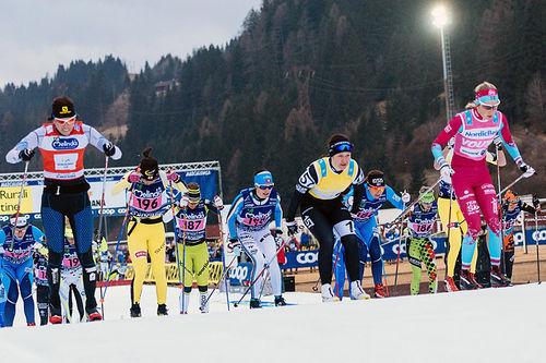 Fra starten av Marcialonga 2016. Foto: Magnus Östh / Ski Classics.
