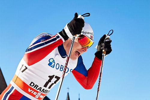 Ola Vigen Hattestad viste muskler under verdenscupsprinten i Drammen 2016 gjennom sin pene 2. plass. Foto: Felgenhauer/NordicFocus.