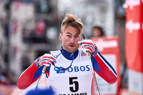 Petter Northug sikret seieren i sprinten under verdenscupens besøk i Drammen 2016. Foto: Felgenhauer/NordicFocus.