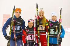 Buskeruds lag som vant Ungdomsstafetten 2016 i Holmenkollen. Andreas Kirkeng, Helene Marie Fossesholm, Marie Laukli og Martin Kirkeberg Mørk. Foto: Espen Utaker.