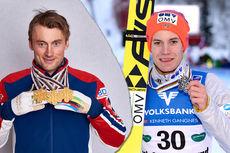 Petter Northug med VM-medaljer fra Falun 2015 og skihopperen Kenneth Gangnes med sin VM-medalje fra skiflyging i Østerrike 2016. Foto: NordicFocus. Fotomontasje: Langrenn.com.