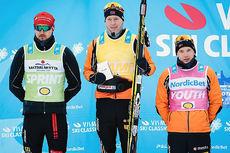 Trøyeholdere på herresiden i Visma Ski Classics etter Kaiser Maximilian Lauf 2016. Fra venstre: Andreas Nygaard (sprint), Petter Eliassen (sammenlagt) og Stian Hoelgaard (ungdom). Foto: Magnus Östh/Ski Classics.