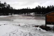 Slik er forholdene på Ormåsen Skistadion. Foto: Eiker Skifestival.