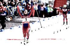 Maiken Caspersen Falla jubler over seier på verdenscupsprinten i Stockholm 2016. Foto: Felgenhauer/NordicFocus.