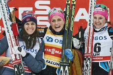 Palljentene etter 5 kilometer klassisk under verdenscupen i Falun 2016. Fra venstre: Heidi Weng (2.-plass), Therese Johaug (1) og Ingvild Flugstad Østberg (3). Foto: Felgenhauer/NordicFocus.