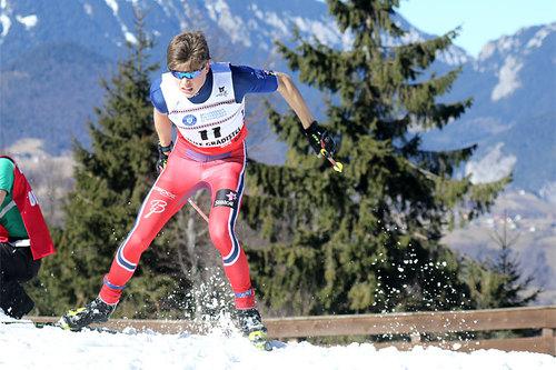 Johannes Høsflot Klæbo er blant de du treffer på Sør-Trøndelag Skikrets sin septembersamling til helgen, her er juniorverdensmesteren ute på sprinten under Junior-VM i Rasnov 2016. Foto: Erik Borg.