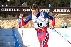 Thomas Bucher-Johannessen på vei mot sjetteplass på 10 km klassisk under Junior-VM i Rasnov 2016. Foto: Erik Borg.