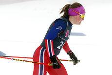 Julie Myhre på vei mot fjerdeplass på 5 km fristil under Junior-NM på Gåsbu. Foto: Erik Borg.