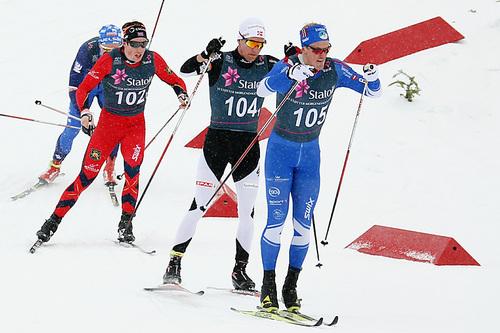 Morten Eide Pedersen tok bronse, sammen med klubbkamerat Martin Løwstrøm Nyenget, for Lillehammer Skiklub på lagsprinten i NM på Beitostølen 2016. Foto: Erik Borg.