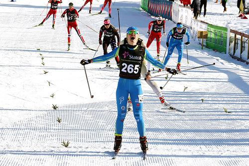 Tuva Bakkemo inn til seier i kvinner 17 år sin Norgescup-finale på Beitostølen 2016. Foto: Erik Borg.
