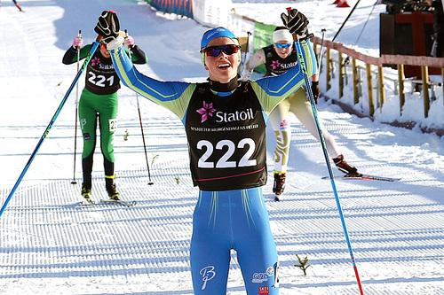 Mathilde Myhrvold jubler inn til seier i kvinner 18 år sin Norgescup-finale på Beitostølen 2016. Foto: Erik Borg.