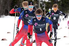 Johannes Høsflot Klæbo i front på vei inn mot seier i Norgescup-finalen for menn 19-20 år på Beitostølen 2016. Foto: Erik Borg.