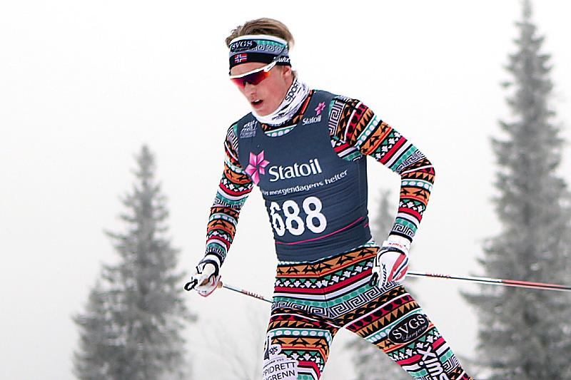 Vebjørn Hegdal, bildet, har hatt stor utvikling som langrennsløper som elev på toppidrett langrenn på Sandefjord vgs. Foto: Erik Borg.