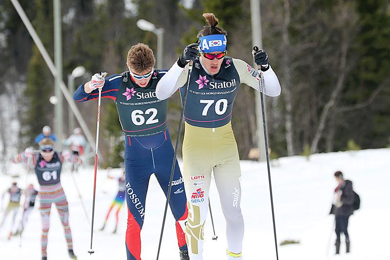 Magnus Bøe i tet under Norgescup-finalen for menn 18 år på Beitostølen 2016. I mål ble han nummer to. Foto: Erik Borg.