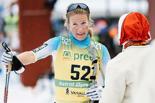 Astrid Øyre Slind etter Vasaloppet 2016 der hun ble nummer 5. Foto: Magnus Östh/Visma Ski Classics.