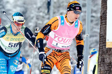 Stian Hoelgaard underveis i Vasaloppet 2016. Han spurtet til slutt inn på 2.-plass. Foto: Magnust Östh/Visma Ski Classics.
