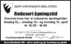 Biblioteket redusert åpningstid 09