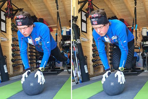 Styrketrening er viktig gjennom sesongen, ikke minst for kjernemuskulaturen. Her ser vi planke i slynger med hendene på medisinball, der man trekker beina inn under seg, slik som Mårten Soleng Skinstad gjør på bildene. Foto: Team Sport 1 Skinstad.