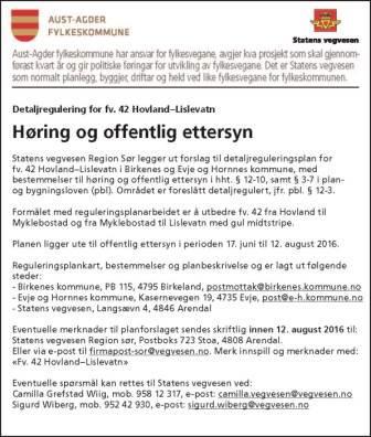 Annonse - Aust-Agder fylkeskommune detaljregulering for fv 42 Hoveland-Lislevatn.jpg