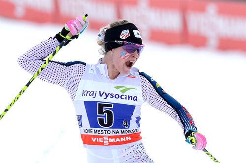 Jessica Diggins er en av stjernene som tar til orde for å redde UNM Ski Team. Foto: Rauschendorfer/NordicFocus.