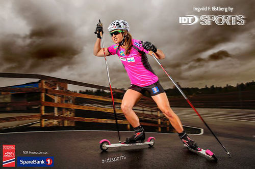 Ingvild Flugstad Østberg er blant landslagsløperne som har trykket rulleskiene fra IDT Sports til sitt bryst. Foto: IDT Sports.