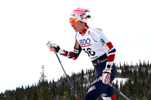 Heidi Weng på vei mot 2. plass i åpningsrennet 10 kilometer klassisk under Beitosprinten 2016. Foto: Erik Borg.
