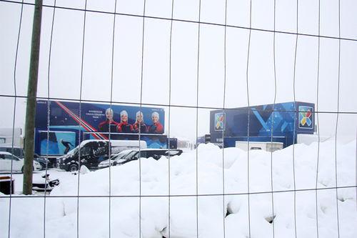 Landslagets 2 smøretrailere under sesongåpningen på Beitostølen. Foto: Geir Nilsen/Langrenn.com.