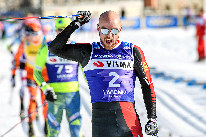 Tord Asle Gjerdalen leder Visma Ski Classics, her går han inn til seier i La Sgambeda 2016. Foto: Rauschendorfer/NordicFocus.