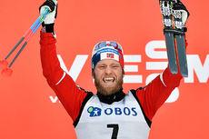 Martin Johnsrud Sundby slipper jubelen løs etter å ha vunnet verdenscupens minitour på Lillehammer 2016. Foto: Thibaut/NordicFocus.