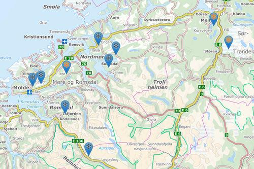 Et solid knippe av de mange løypelag og destinasjoner på Nordmøre som skal inn på Løyper.net gjennom samarbeidet med Stikk UT! er allerede på plass, mens flere er på vei inn. Kartbilde: Løyper.net.