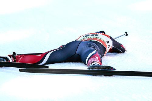 Heidi Weng etter 5. plassen på 5. etappe i Tour de Ski 2016-2017. Det holdt til å ta over ledelsen sammenlagt, etter at svenske Stina Nilsson hadde en dårlig dag. Foto: Modica/NordicFocus.