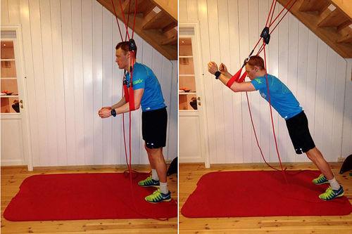 Vegard Bjerkreim Nilsen gjør øvelser for å styrke kroppen etter ryggskade. Foto: Privat.