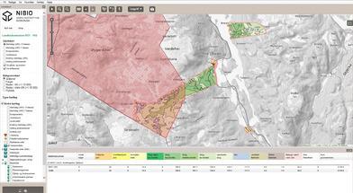 Gårdskart på nett. Viser arealtall, eiendomsgrenser og andre kartlag.