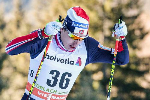 Simen Hegstad Krüger på vei mot 3. plass på 6. etappe av Tour de Ski 2016-2017 i Toblach. Foto: Modica/NordicFocus.
