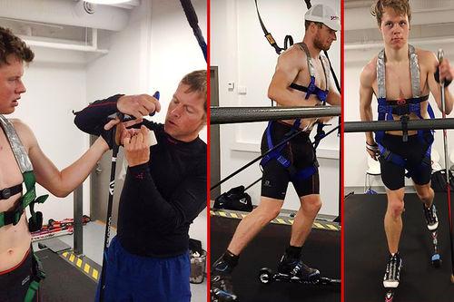 Eliteløpere i full gang med testing og prøvetaking på stormølle, noe som Input Prestasjonsutvikling Hamar tilbyr. Foto: Privat.