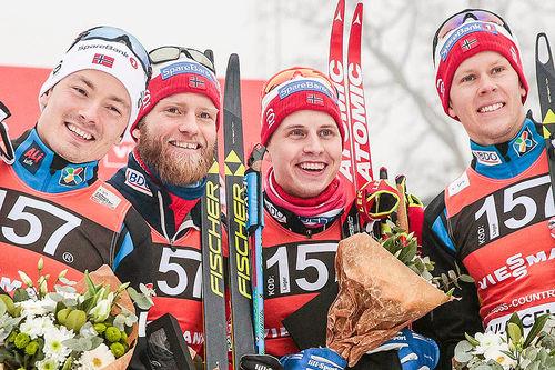 Norges lag som vant verdenscupstafetten i Ulriceshamn i januar 2017. Fra venstre: Finn Hågen Krogh, Martin Johnsrud Sundby, Simen Hegstad Krüger og Anders Gløersen. Foto: Modica/NordicFocus.