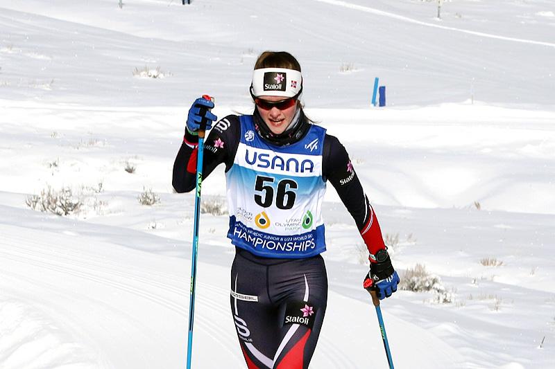 Mathilde Myhrvold ute i sprintprologen under Junior-VM i Park City og USA 2017. Foto: Erik Borg.