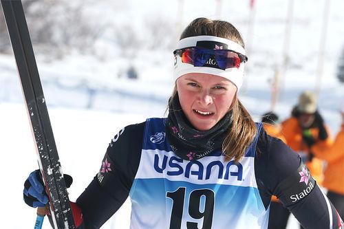 Mathilde Myhrvold gikk inn til en sterk 5. plass på damenes sprint i Junior-VM i USA og Park City 2017. Foto: Erik Borg.