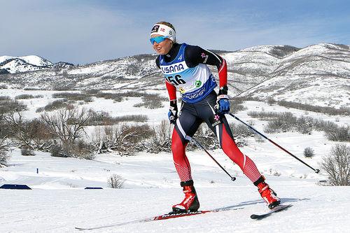 Marte Mæhlum Johansen på vei mot sølvmedalje på 5 kilometer i fri teknikk under Junior-VM i Park City 2017. Foto: Erik Borg.